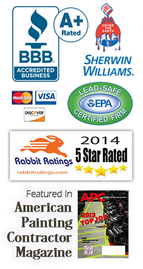 Paint Medics Inc. - Parma, Ohio - Better Business Bureau A+ rated, EPA Lead-Safe Certified Firm, Accepts major credit cards, Shrewin Williams paints, Rabbit Ratings 5 Star Rated, Featured in American Painting Contractor Magazine
