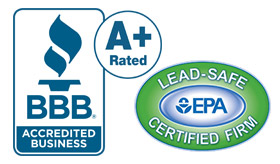 Better Business Bureau A+ Rated and Lead-Safe Certified EPA Logos
