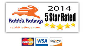 Rabbit Rating 2014 5 Star Rated Logo and Credit Card Logos